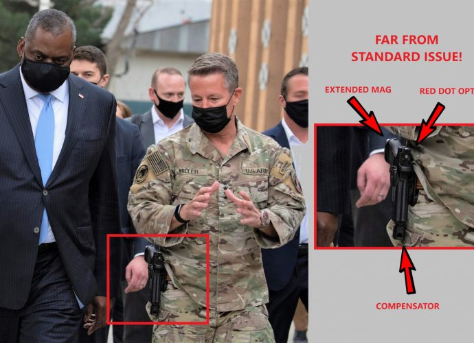 General Miller, America's highest-ranking officer in Afghanistan, is clearly not simply signing out any old sidearm from the armory.