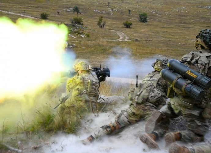 Photo Of The Day with a loud bang as U.S. Army Paratroopers assigned to the 2nd Battalion, 503rd Infantry Regiment, 173rd Airborne Brigade, fire a M3 Carl Gustav rocket launcher.